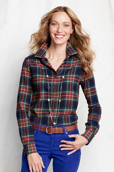 Women S Long Sleeve Pattern Flannel Shirt From Lands End