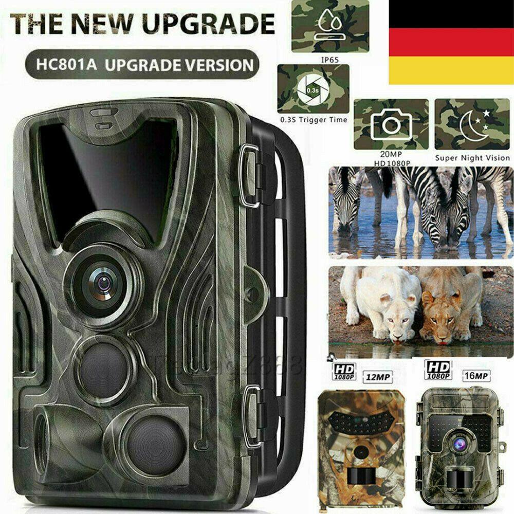 20MP JagdKamera Wildtierkamera Nachtsicht Überwachungskameras FullHD 1080P IP56