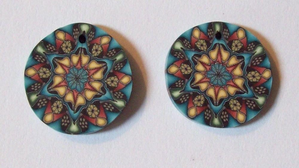 2 Polymer Clay Kaleidoscope Beads - New Handmade Craft Jewelry Supply / Art