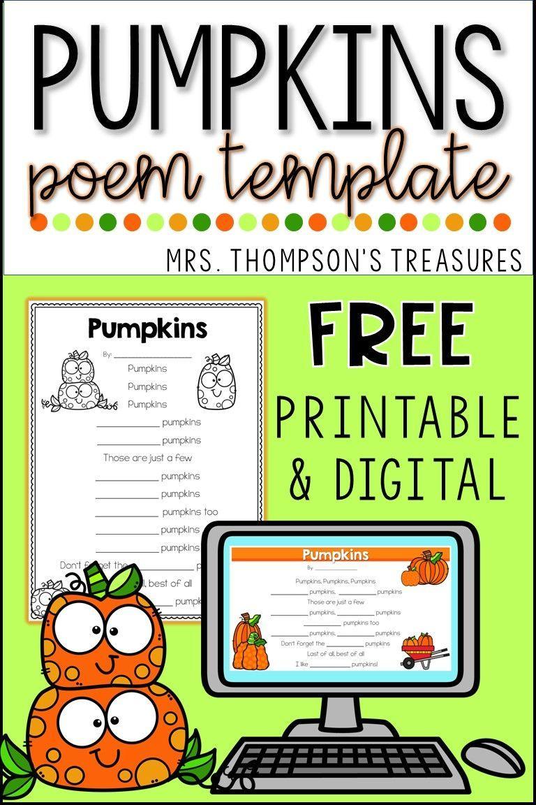 Free Pumpkin Poem Template Classroom Freebies In 2020 Poem Template Poetry For Kids Poetry Templates