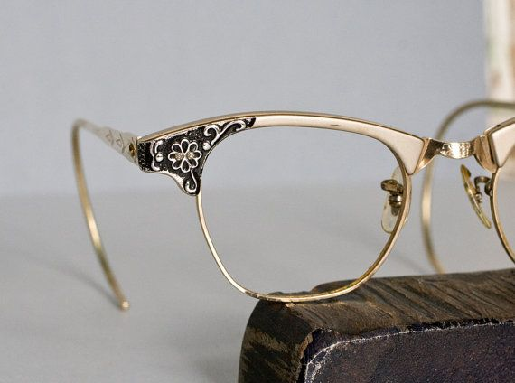 Vintage Art Craft American Optical Cat Eye Horn Rimmed Eyeglasses