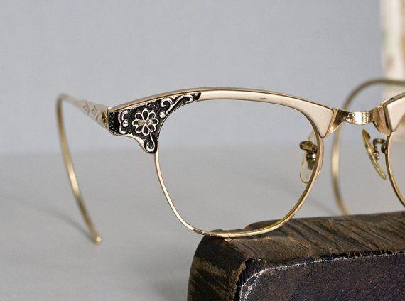 Vintage Art Craft American Optical Cat Eye Horn Rimmed Eyeglasses