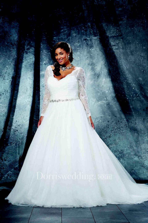 Ball Gown Floor-Length V-Neck Long Sleeve Tulle Criss Cross Waist ...