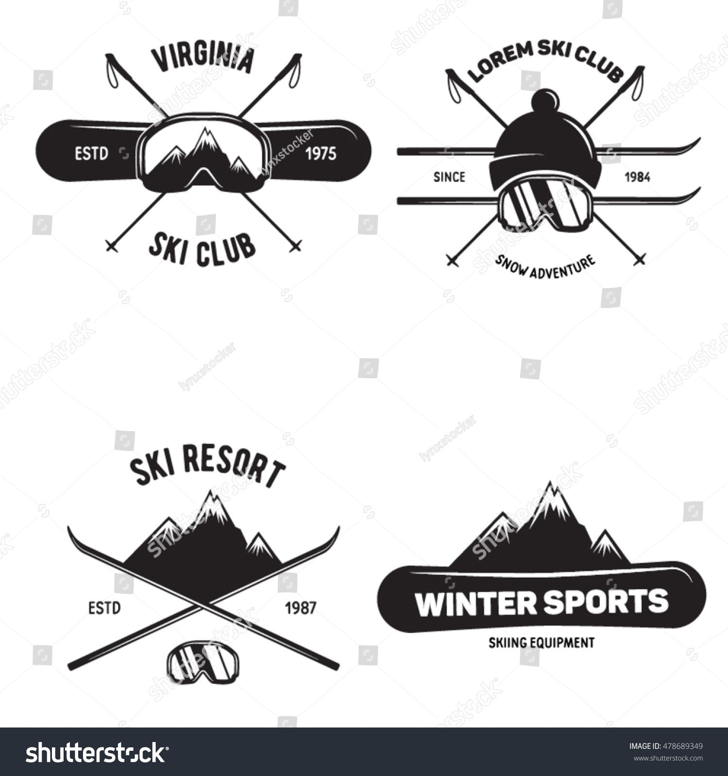 Set Of Ski Club Vintage Mountain Winter Badges Outdoor Adventure Logo Design Travel Hand Drawn And Hipster Insignia Snowboard Icon Ski Art Ski Club Skiing