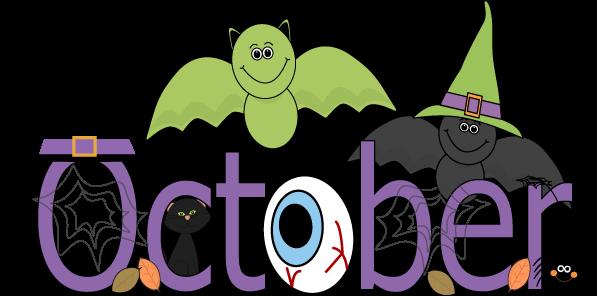 Fun month of October Halloween scene clip art calendar topper ...