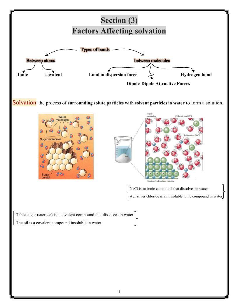 الكيمياء ملخص Factors Affecting Solvation بالإنجليزي للصف العاشر Sugar Crystals Hydrogen Bond Ionic Compound