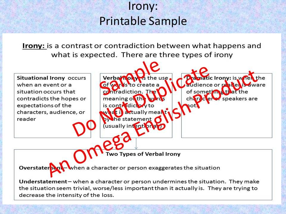 Irony Printable Worksheets And Handout Anything And