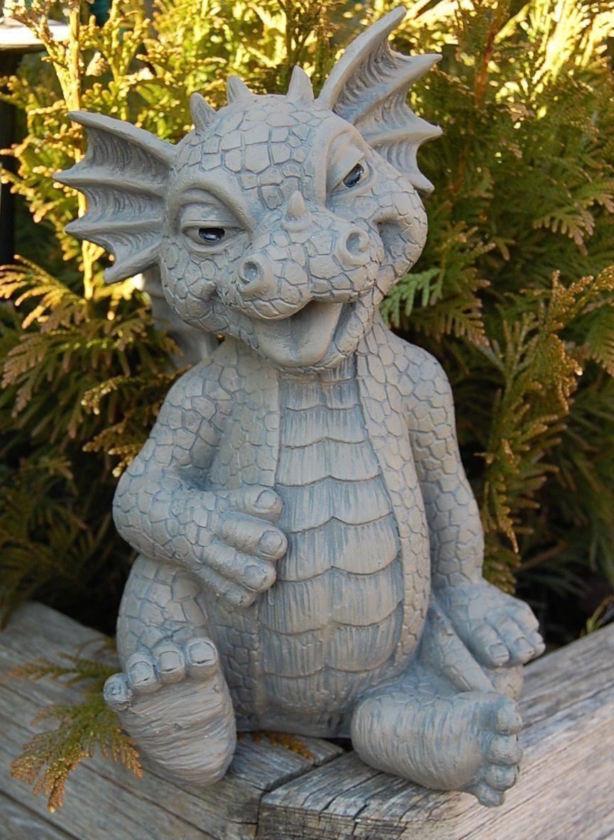 Gartenfigur Drache steckt Zuge raus Drachen Figur Frostfest NEU | eBay