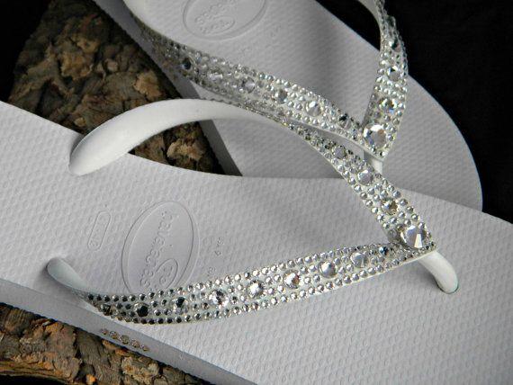 0f3f6f216 Glass Slippers Swarovski Crystal White Clear Beach Wedding Flip Flops FULL  MOON SS34 Havaianas or Cariris Bridal Shoes