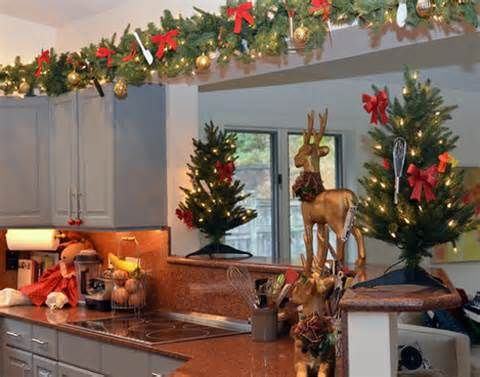 christmas decorating ideas above kitchen cabinets christmas