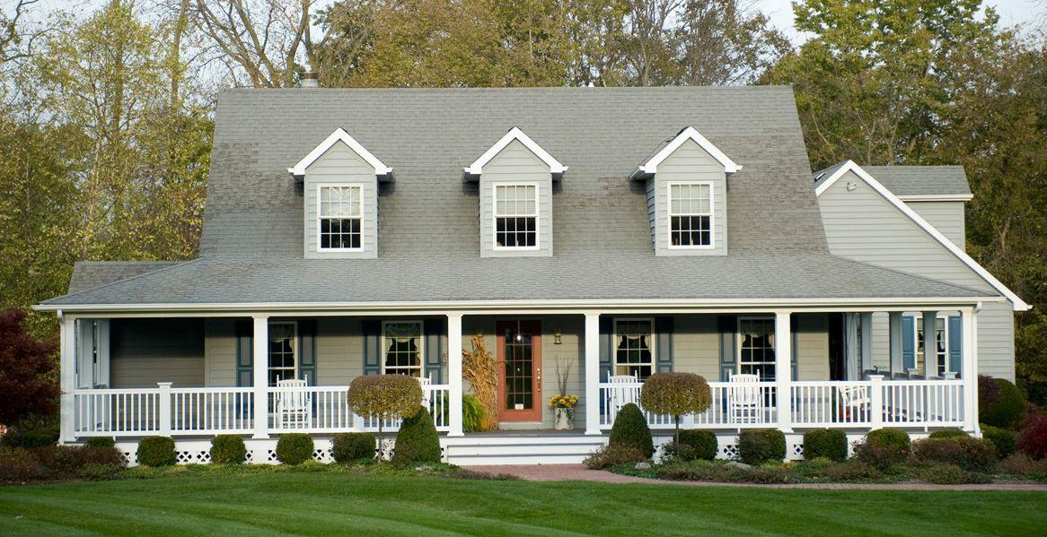 Pale Grey House Black Shutters