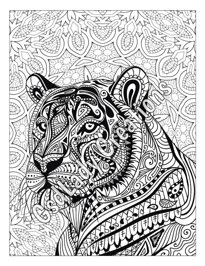 Mandala · zen tiger animal art page to color