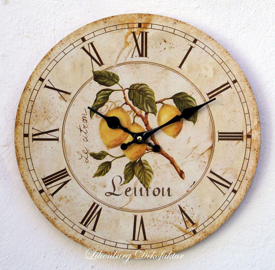 Wanduhr Shabby gelb braun Uhr Zitrone Küche Deko Küchenuhr Vintage ...
