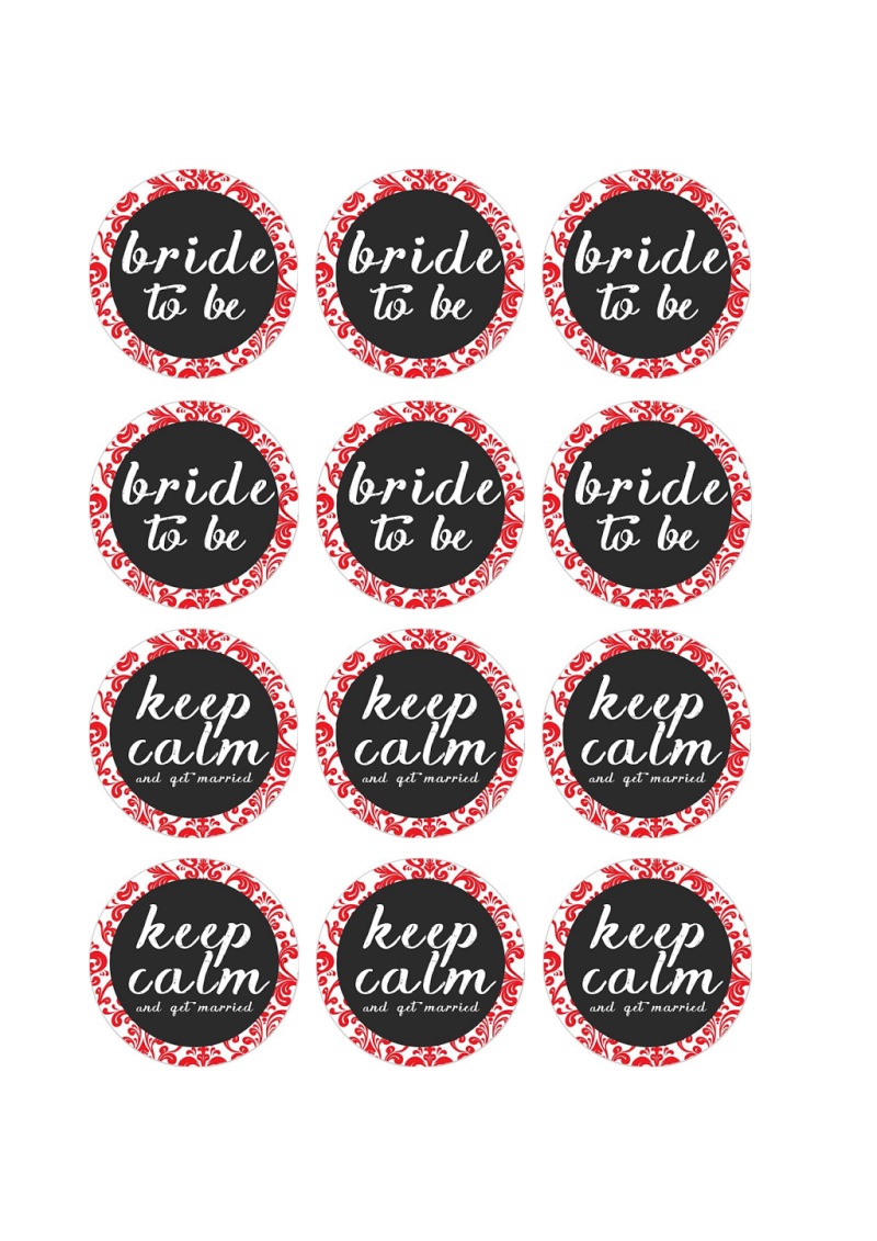 free printable pdf bridal shower cupcake toppers red damask