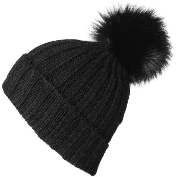 4ccda91469e550 Black Cashmere and Fur Pom Pom Beanie ($230) ❤ liked on Polyvore featuring  accessories, hats, beanies, headwear, fur lined hat, slouch beanie hats, fur  pom ...