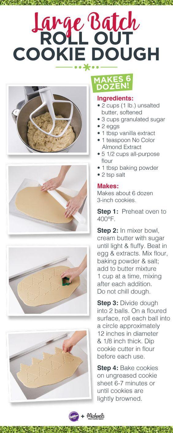 Large Batch Roll Out Cookies Recipe Recipe Roll Out Cookie Dough Recipe Cookie Dough Recipes Sugar Cookie Dough Recipe
