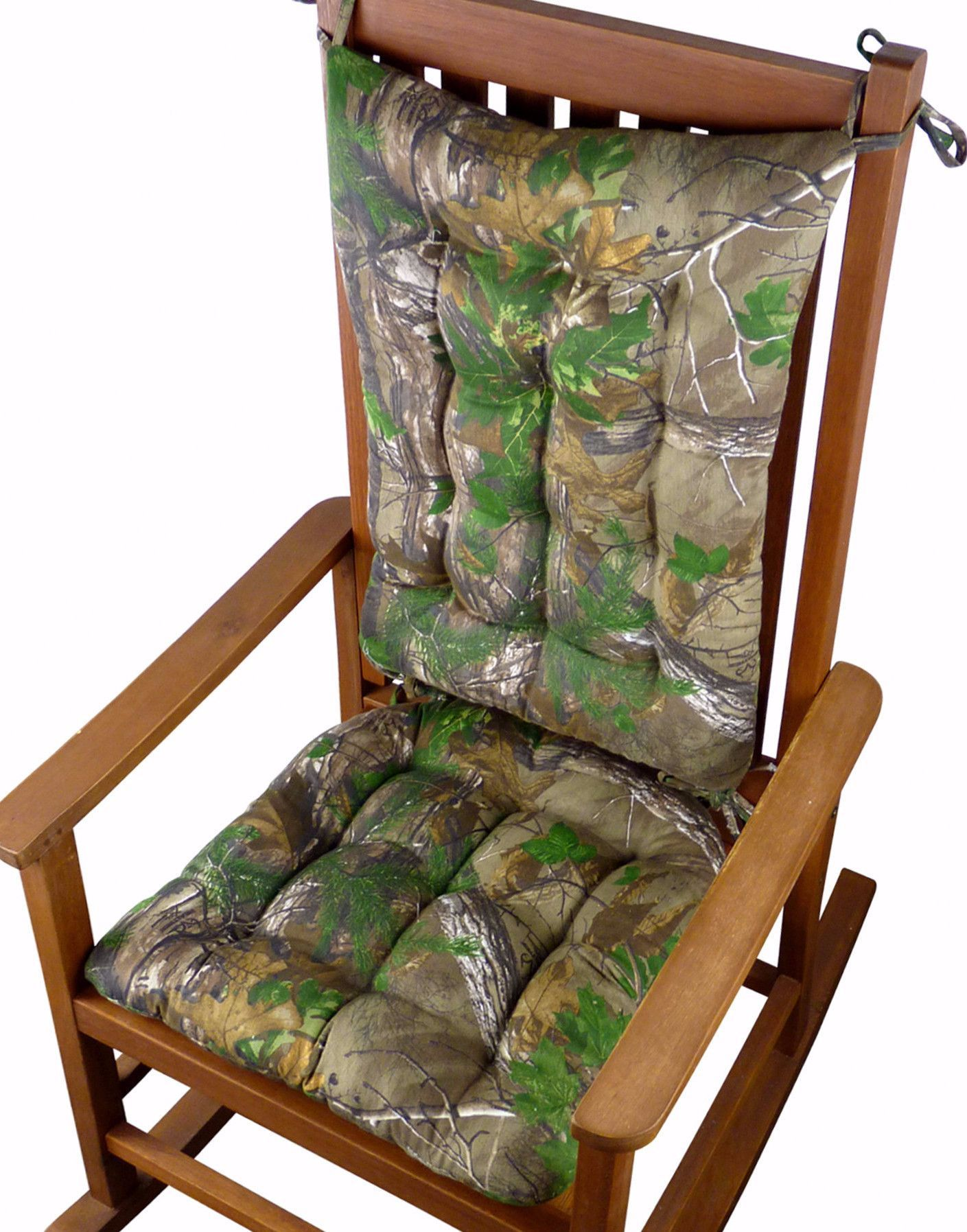 Realtree Xtra Green R Camo Rocking Chair Cushions Latex Foam Fill Reversible Tufted