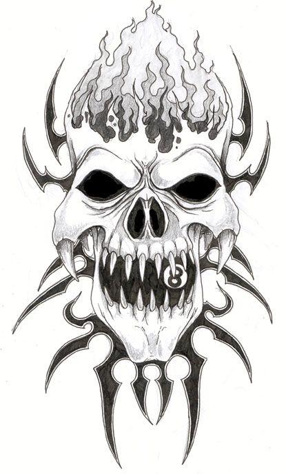 Tattoo Design Tattoo Picturem Tattoo Designs 03 Evil Skull Tattoo Tribal Skull Skull Tattoo Design