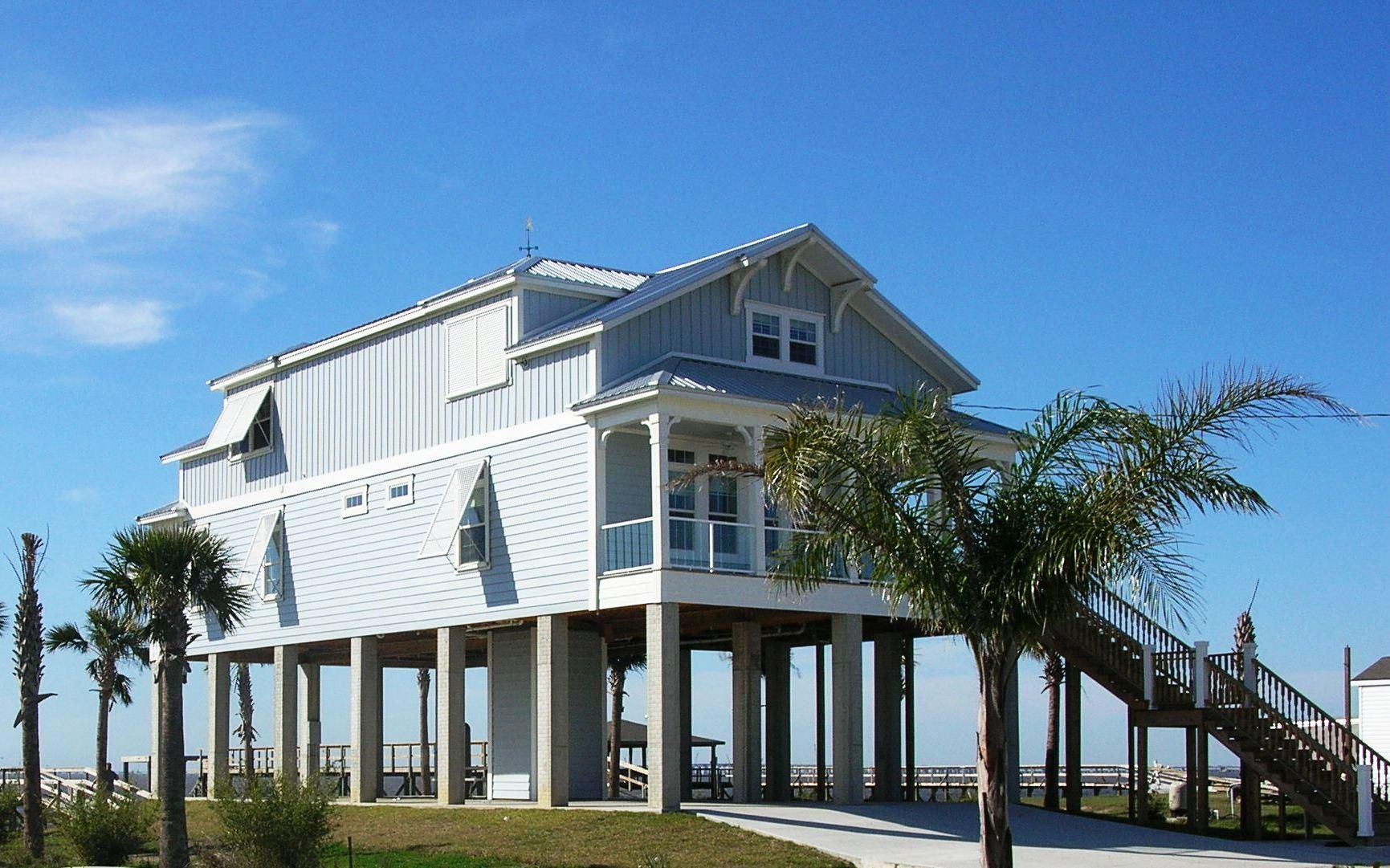 Elevated Coastal Beach House Plans With Pilings Jpg 1731 1081 House On Stilts Beach House Design Beach House Plans