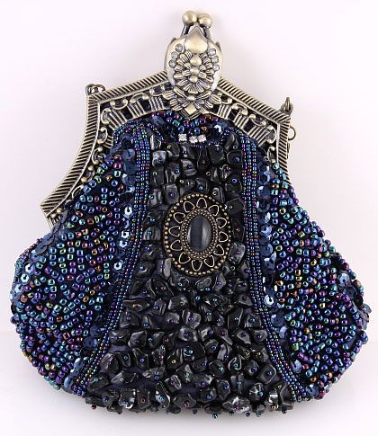 Luxe Navy Blue Beaded Handbag Perfect For A Royalty Inspired Wedding Theme