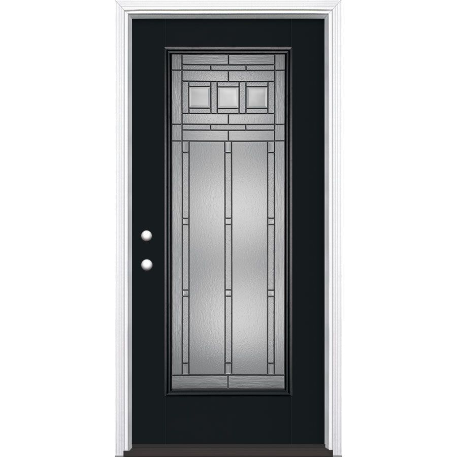 Masonite Craftsman Glass Flush Insulating Core Full Lite Right Hand Inswing Peppercorn Fiberglass Painted Prehung Entry Door Entry Doors Fiberglass Entry Doors