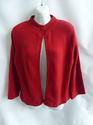 100% Cashmere Sweater Size M Dark Red Cardigan Womens Ellen Tracy ...