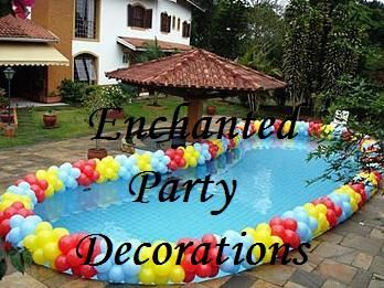 Swimming Pool Party Theme Ideas giant pool floats pool party decoration ideas Birthday Party Ideas Balloons Around Pool