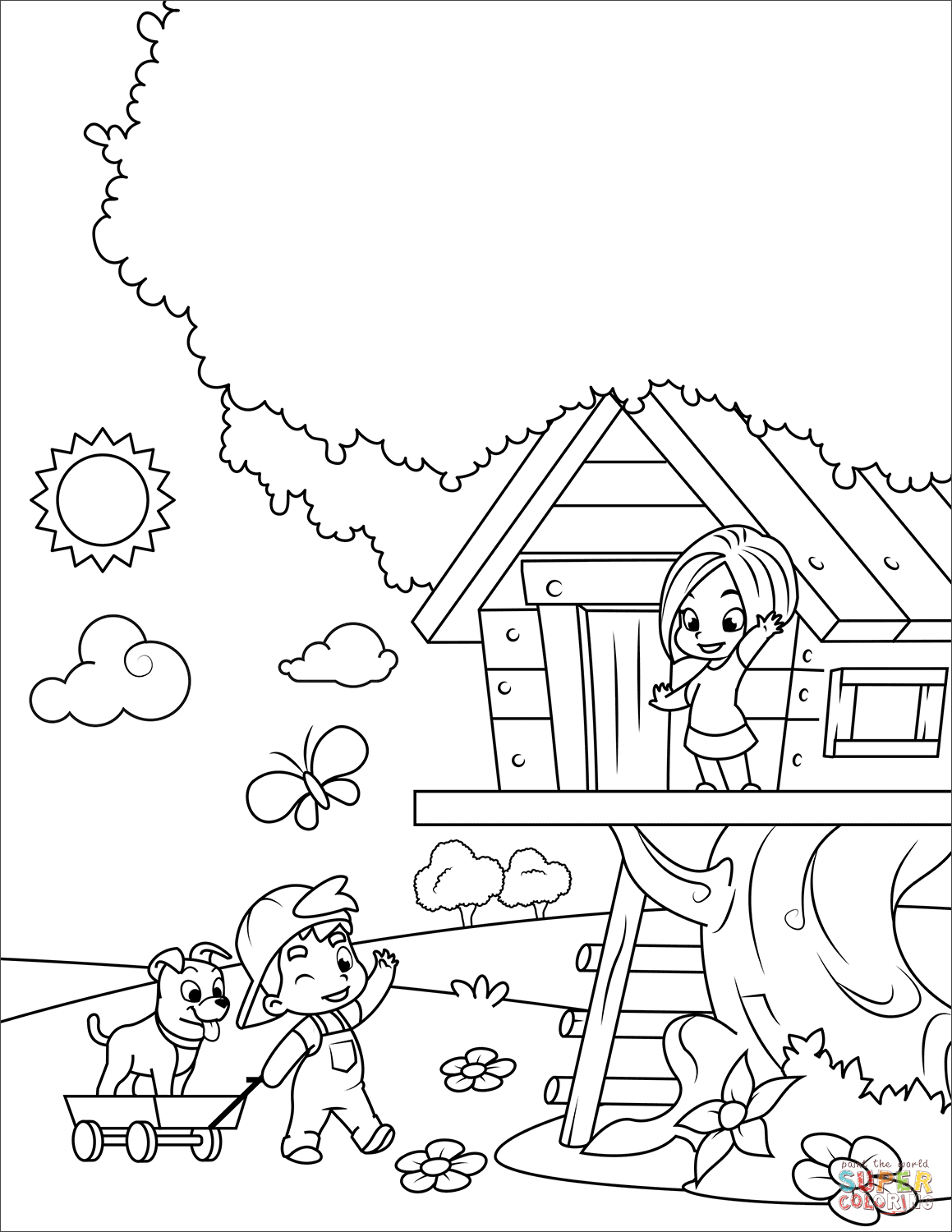Boy And Girl Playing In A Tree House Coloring Page