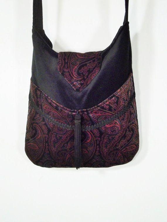 Messenger Sac Paisley sac noir Bohème Gypsy Rose et Purple velours ZxvBBp