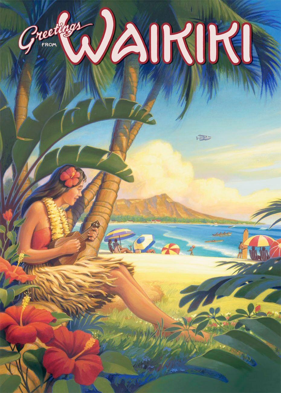 Hawaii travel poster vintage travel usa vintage hawaii hawaiian vintage tin sign postcard greetings from waikiki by kerne erickson kristyandbryce Choice Image