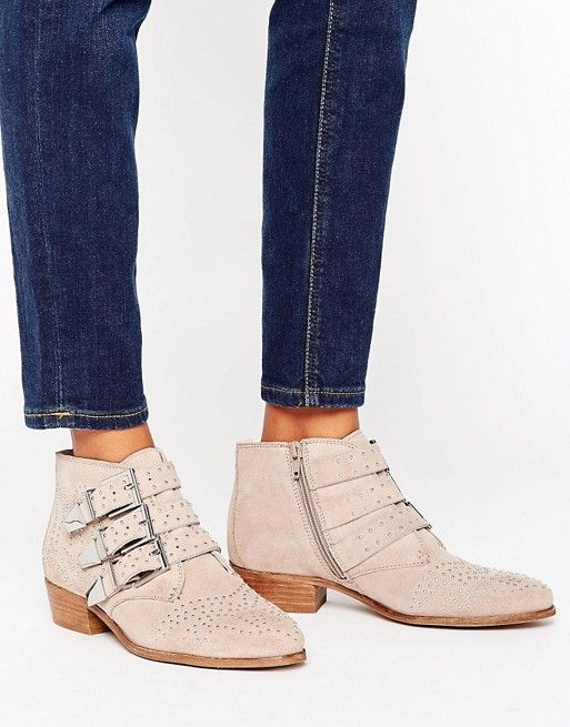 Office Stud Suede Ankle Boots