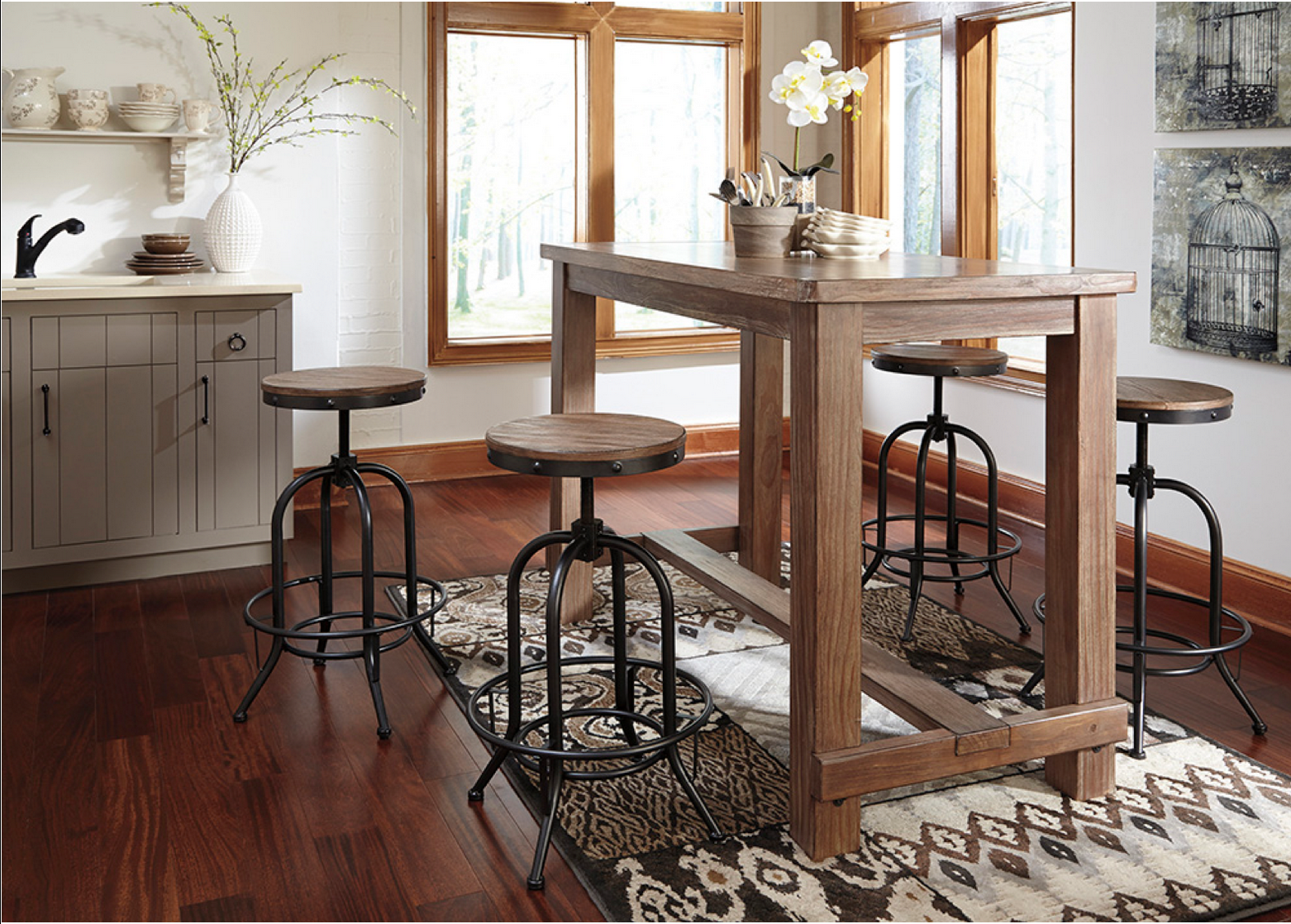 Rustic Style 5 Piece Pub Set Wood And Cast Iron Stools
