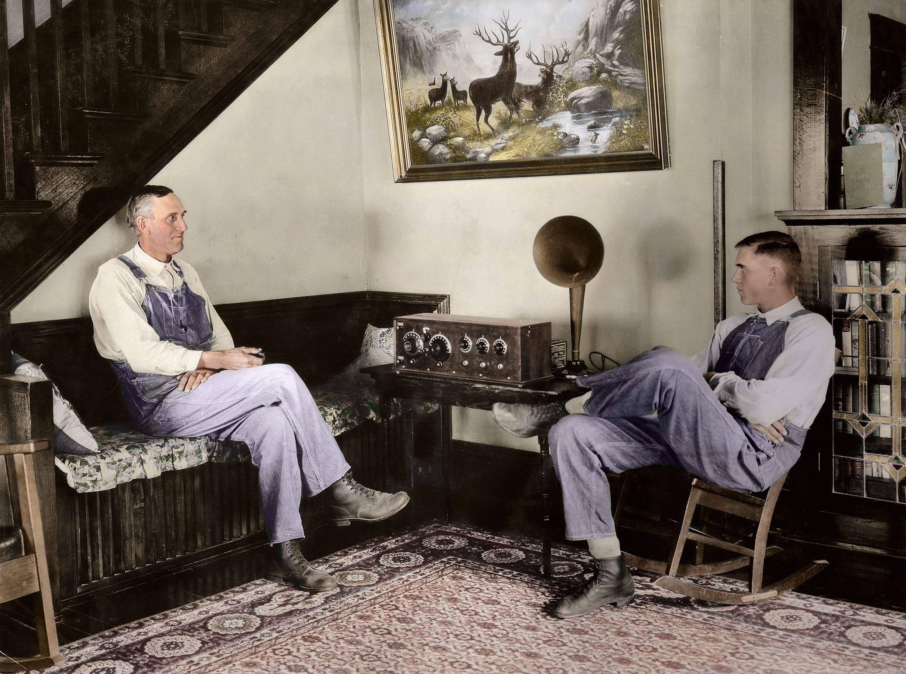 Farmer and his son listening in the evenings, Shawnee county, Kansas, September 23 or 24, 1924. George W. Ackerman (1884-1962).