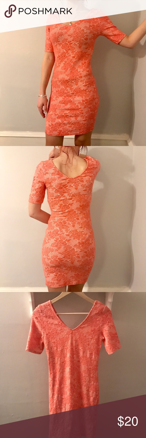 Pink dress topshop  Topshop bodycon dress Topshop tight fitted pink coral dress v ne