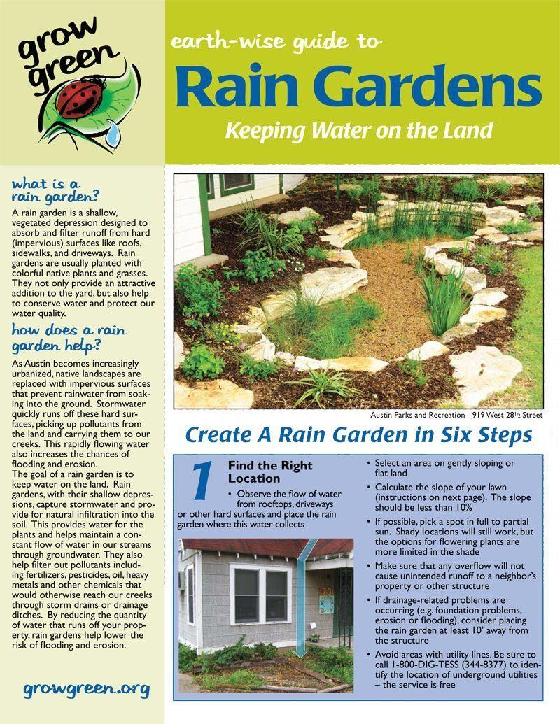 City Of Austin Grow Green Fact Sheet Rain Gardens Central Texas Gardener Modern Design Rain Garden Design Rain Garden Sloped Garden