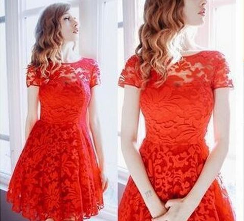 Elegant Beauty Round Collar Lace Dress LAVELIQ