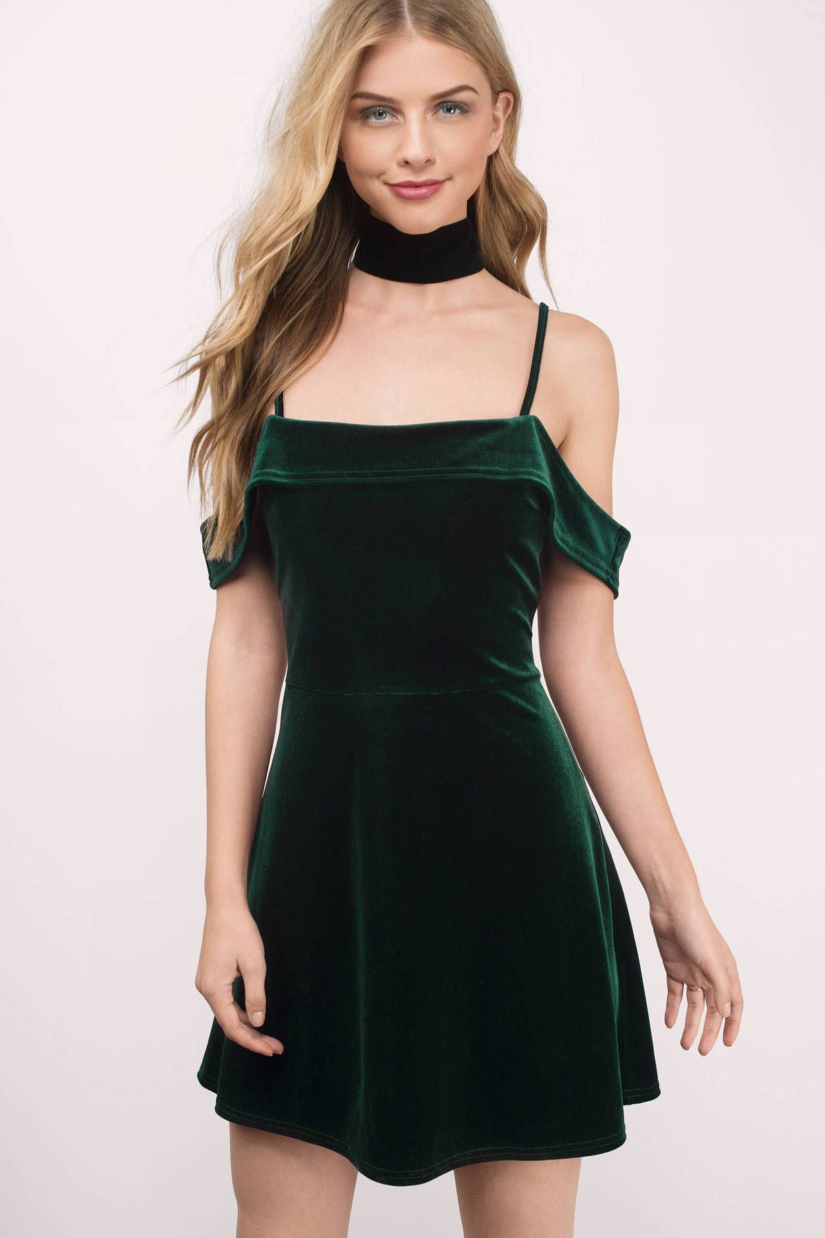 5522b0090c23 Stay real in A Fiction Green Velvet Skater Dress. Featuring the velvet and cold  shoulder
