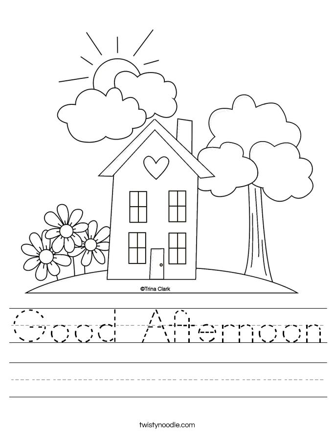 Good Afternoon Worksheet Love Coloring Pages Kindergarten Worksheets Preschool Learning