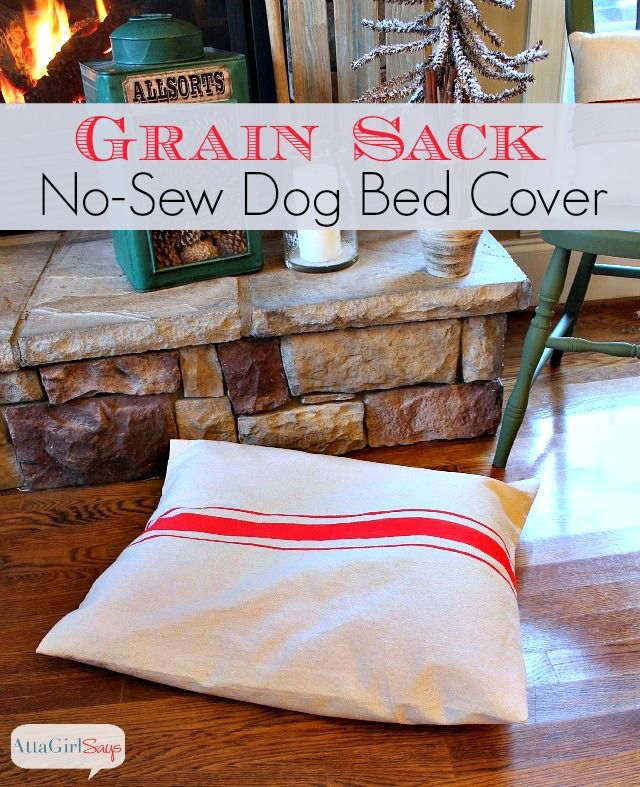 No-Sew Grain Sack Dog Bed Cover Made from A Canvas Drop Cloth & THE BEST OF THE NO-SEW IDEAS   Dog bed covers Canvas drop cloths ... pillowsntoast.com