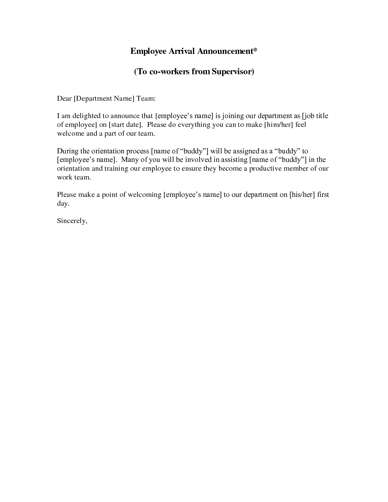 new employee announcement letter this sample new employee new employee announcement letter this sample new employee introduction letter welcomes your new staff member