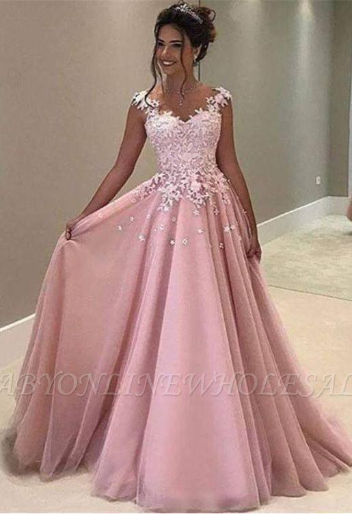 Gorgeous Pink Lace Appliques A-Line Long Evening Dress BA4607 in ... ebe7c6de910f