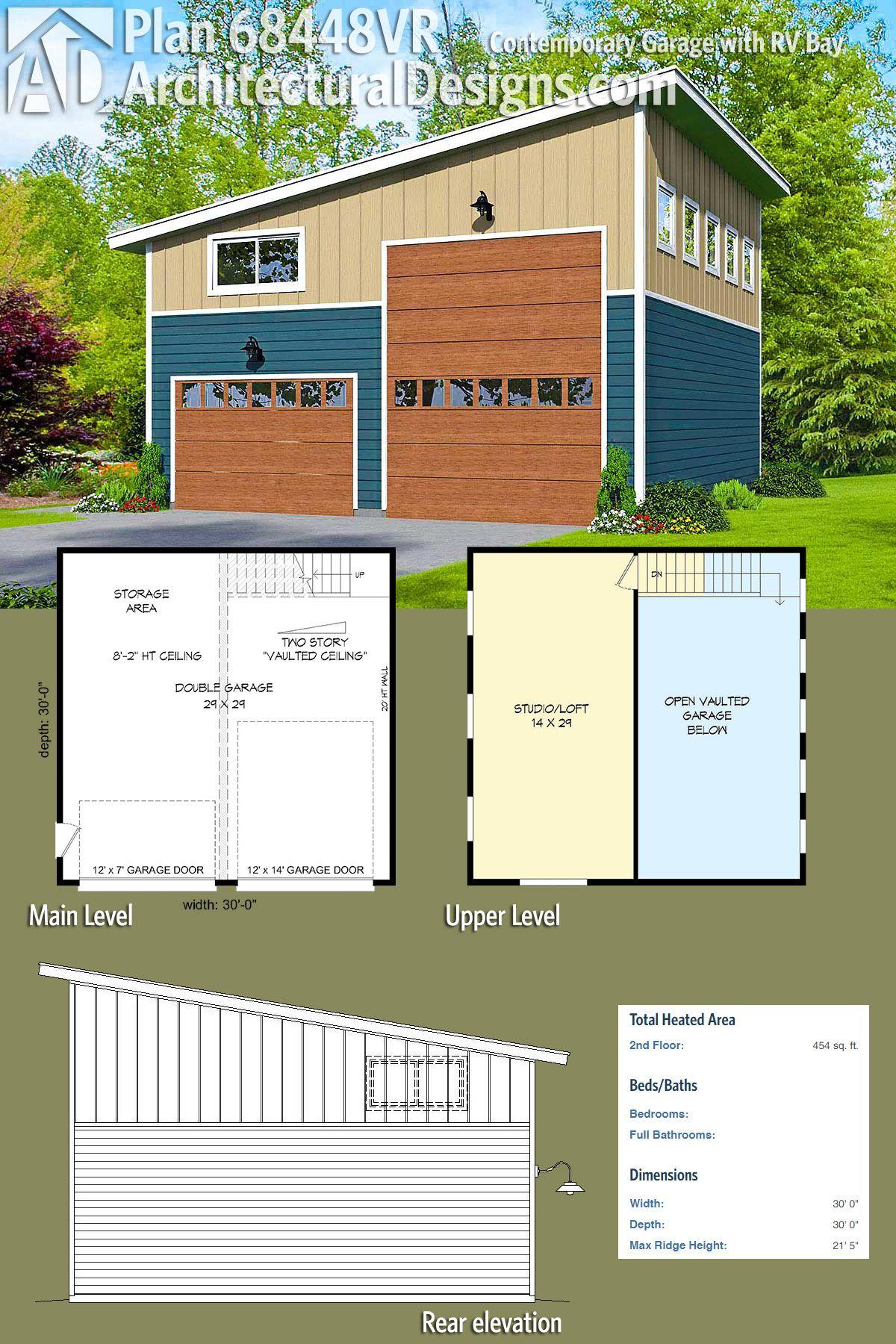 Plan 68448vr contemporary garage with rv bay garage for 2 bay garage with loft