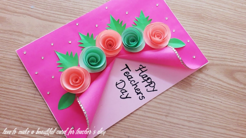 3 How To Make A Beautiful Card For Teacher S In 2020 Teachers Day Card Teacher Cards Teachers Day Greeting Card