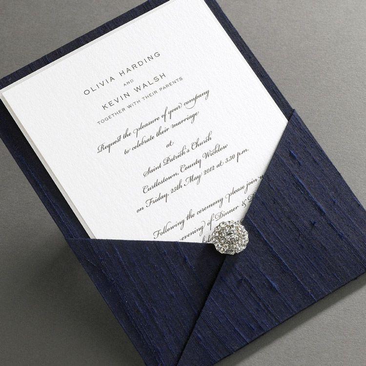 Elegant Ireland Luxury Thai Silk Pocket Wedding Invitations Weddinginvitations Undangan