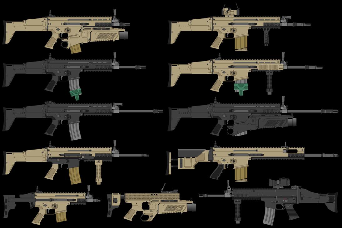 The Scar Family By Https Www Deviantart Com Deeveecee On Deviantart Military Guns Guns And Ammo Vintage Guns