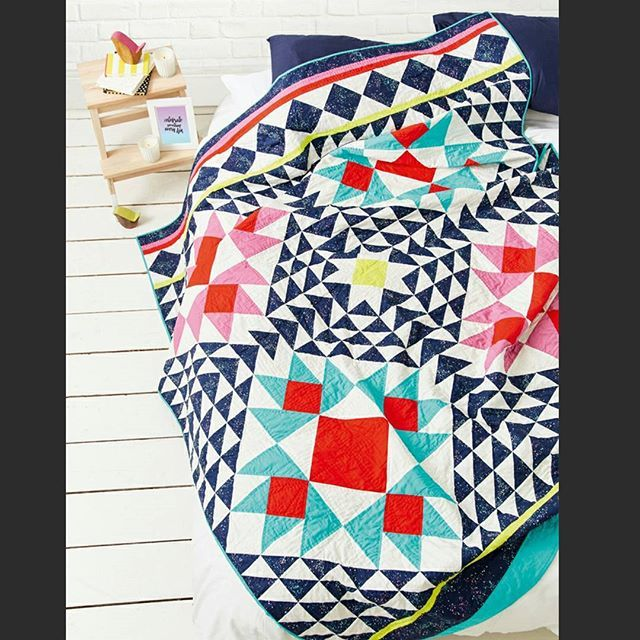 Yay!! I'm so excited to finally be able to share my Space Blossoms quilt in issue 42 of @lovequiltingmag This one was made entirely of @cottonandsteel lawn, handquilted with 12wt @aurifilthread and so amazingly soft! I can't wait to get it home!...It is coming home right Alice? @lpqalice 😂😂 . . . #lawnquilt  #cottonandsteel  #lovepatchworkandquilting #lovequiltingmag  #snipssnippetspatterns  #handquilted