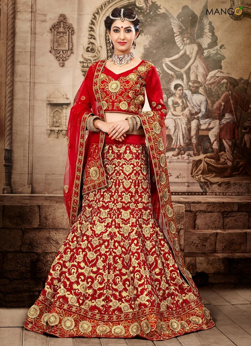 wedding lehenga Beige And Red Net Bridal Lehenga Choli Item Code