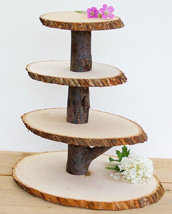 Rustic Wedding Cake Stand Wood Tree Slice Wood By Jtlcreations: Wooden Cupcake Stand Rustic Wood Tree Slice Centerpieces