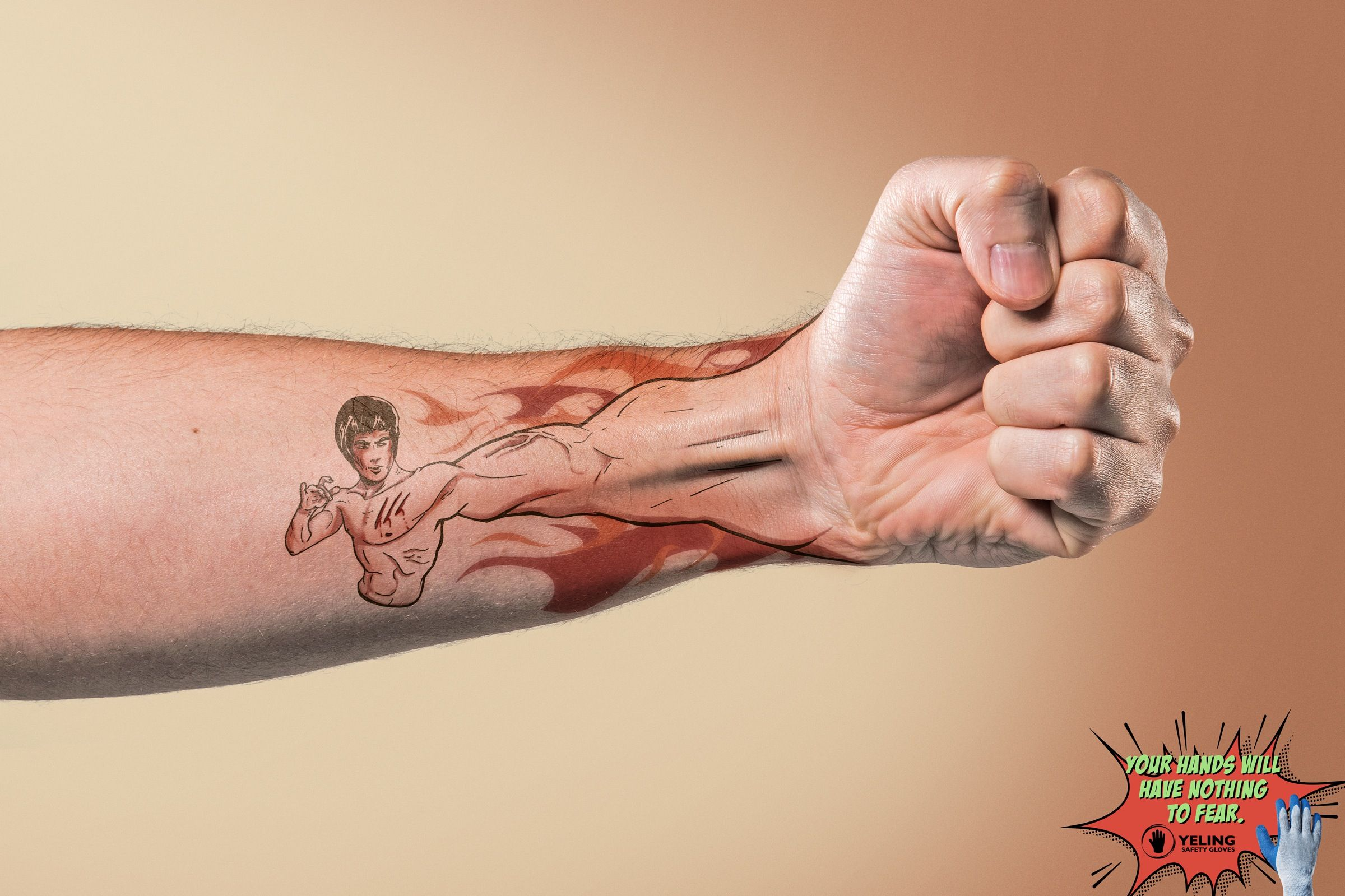Cool tattoo designs for your hand yeling safety gloves arm   広告  pinterest  advertising