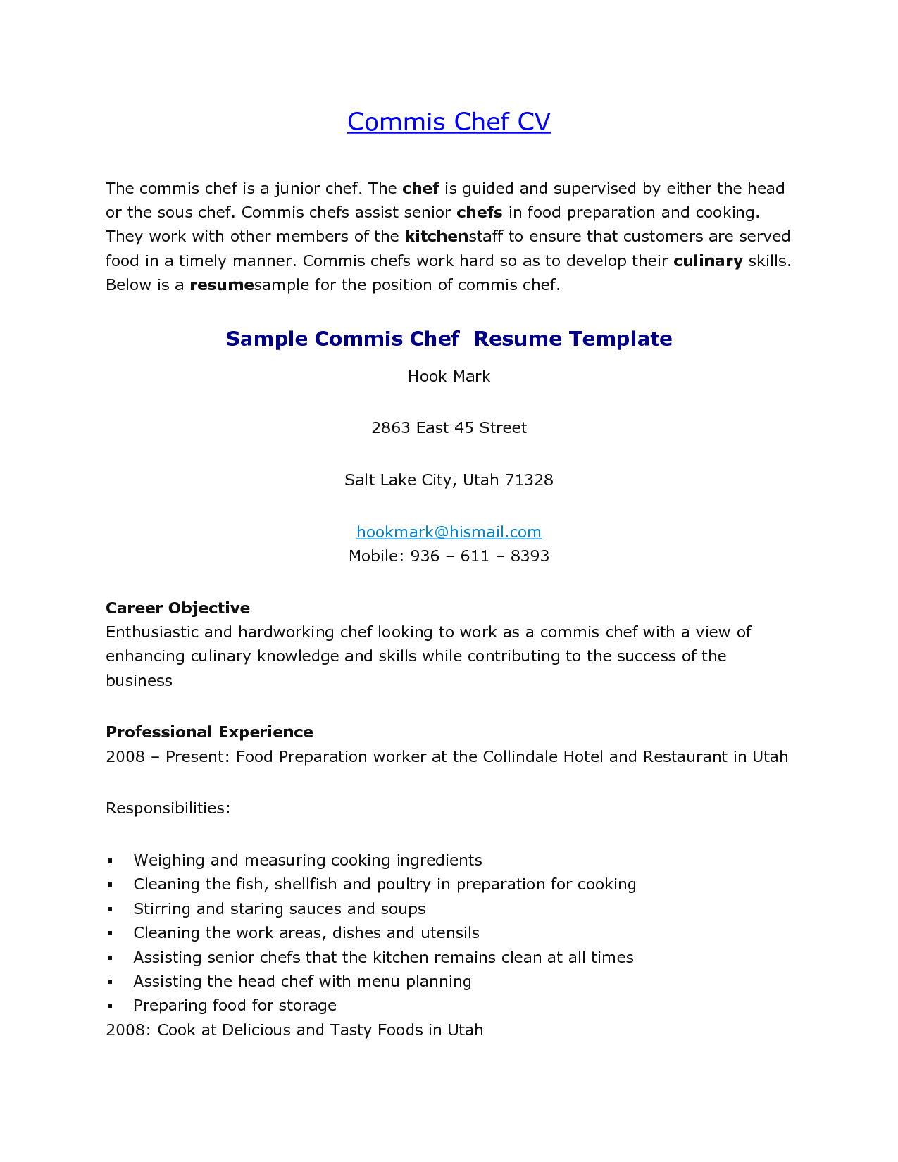 Cover Letter Sample For Commis Chef - 100+ Cover Letter ...